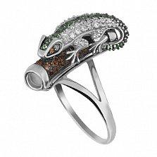 Кольцо из белого золота Хамелеон с фианитами