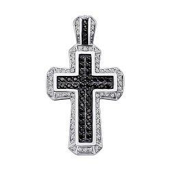 Серебряный декоративный крестик с черными и белыми фианитами 000133784