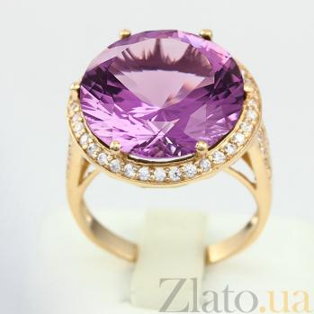 Золотое кольцо с аметистом и фианитами Успех VLN--112-1387-4