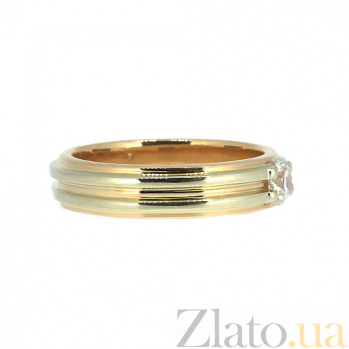 Золотое кольцо в белом цвете с бриллиантом Инара 000021495