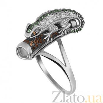 Золотое кольцо Хамелеон в комбинированном цвете с фианитами микс VLT--ТТ1028