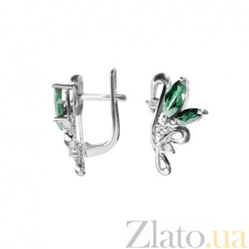 Серебряные серьги с бриллиантами и изумрудами Клара 000022333