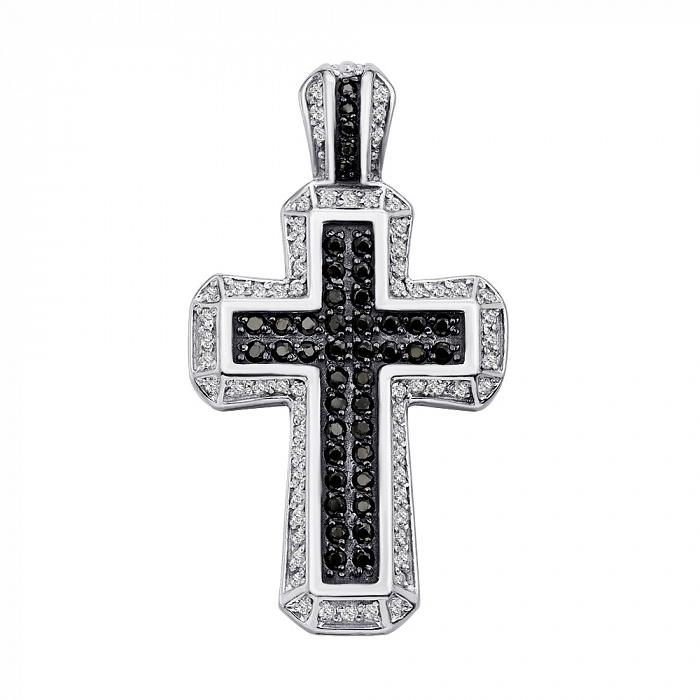 Серебряный декоративный крестик с черными и белыми фианитами 000133784 000133784