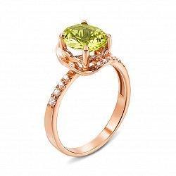 Кольцо из красного золота с хризолитом и фианитами 000134266