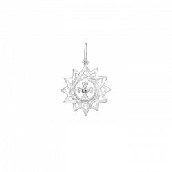 Подвеска Звезда Эрцгаммы из серебра с белым фианитом