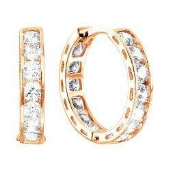 Золотые серьги с цирконием Swarovski, d 15мм 000050220