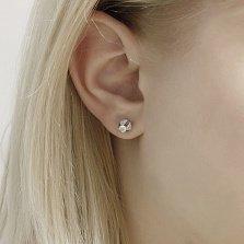 Золотые серьги- пуссеты Румер в белом цвете с бриллиантами