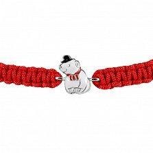 Детский плетеный браслет Мишка в котелке с красной эмалью, 10-20см