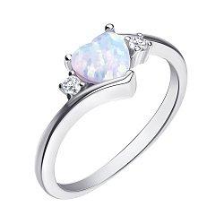 Серебряное кольцо с опалом и фианитами 000139623