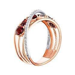 Золотое кольцо в комбинированном цвете с гранатами и фианитами 000147972
