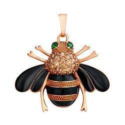Серебряная позолоченная подвеска Пчелка с цирконием и эмалью