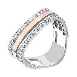 Серебряное кольцо с золотой накладкой, фианитами и родированием 000066758