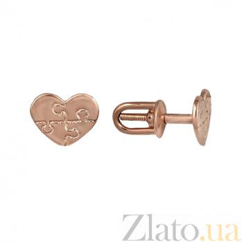 Серьги Любовный пазл в красном золоте 000023436