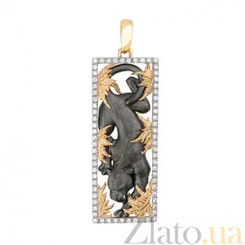 Подвеска Пантера из желтого золота с фианитами VLT--А305-4