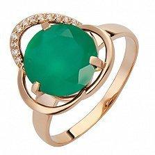 Золотое кольцо Катида с агатом и фианитами