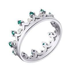 Серебряное кольцо-корона с изумрудами и бриллиантами с родированием 000050779