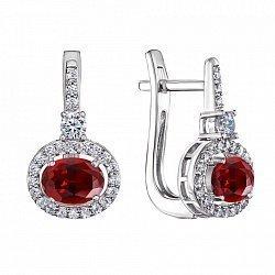 Серебряные серьги с рубинами и фианитами 000132696