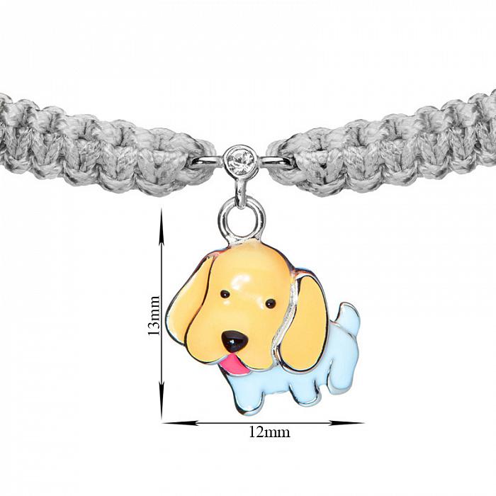 Детский плетеный браслет Собачка с эмалью на подвеске и фианитом, 13х12мм 000080613
