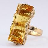 Кольцо из красного золота с цитрином Хищница