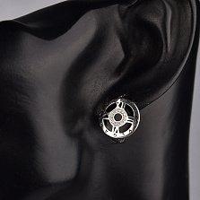 Серебряные серьги Часы с римскими цифрами, фианитами и черной эмалью в стиле Булгари