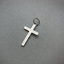 Родированный серебряный крест Спасение