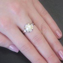 Серебряное кольцо Нежность с белой жемчужиной
