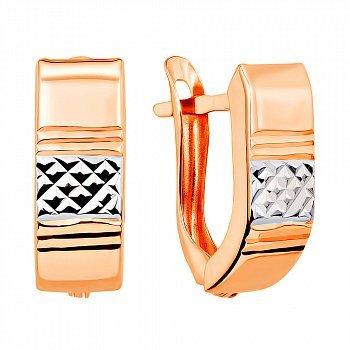 Золотые серьги в комбинированном цвете с алмазной гранью 000106338