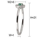 Кольцо Персия из белого золота с бриллиантами и изумрудом