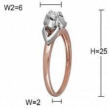 Кольцо Ольга из комбинированного золота с бриллиантом