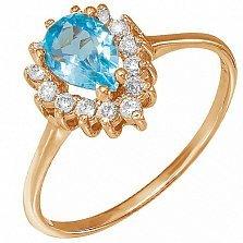 Золотое кольцо Фаина с голубым топазом и фианитами