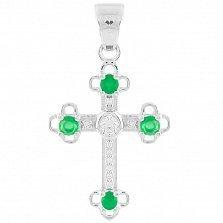 Серебряный крестик Мери с зеленым агатом и фианитами