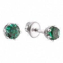 Серебряные серьги-пуссеты Лея с зеленым кварцем, 5мм