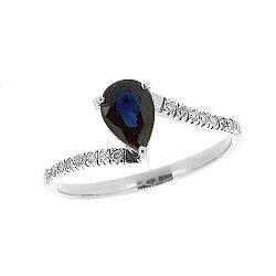 Серебряное кольцо с синим сапфиром и лейкосапфирами 000040335