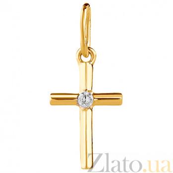 Крестик из желтого золота с фианитом Нежность 000023343