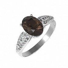 Серебряное кольцо Бриджит с раухтопазом и фианитами