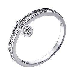Серебряное кольцо с подвеской и фианитами 000025750