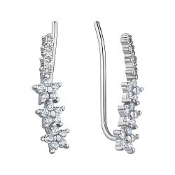 Срібні сережки-кафи з фіанітами 000147227