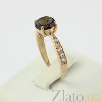 Золотое кольцо с раухтопазом и фианитами Беатриса 000030790