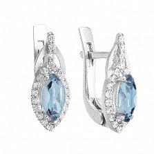 Серебряные серьги Мелисса с голубым топазом и фианитами