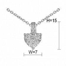 Кулон из белого золота с бриллиантами Сердце