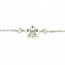 Золотой браслет в белом цвете с бриллиантом Лютик