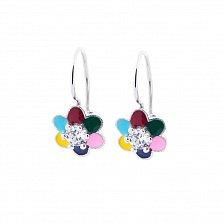Серебряные серьги Семицветик с цветной эмалью и цирконием