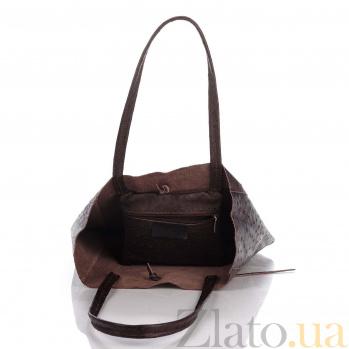 Кожаная сумка на каждый день Genuine Leather 7803 коричневого цвета с завязками и мягкой складкой 000092671