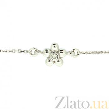 Золотой браслет в белом цвете с бриллиантом Лютик ZMX--BCD-00208\1w_K