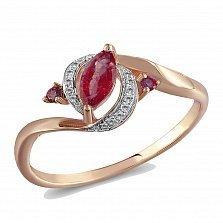 Кольцо из красного золота с гранатами и бриллиантами Элиза
