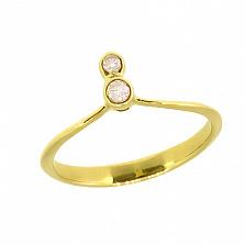 Фаланговое кольцо Октава из желтого золота с бриллиантами