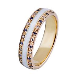 Золотое кольцо с бриллиантами, сапфирами и эмалью Млечный Путь