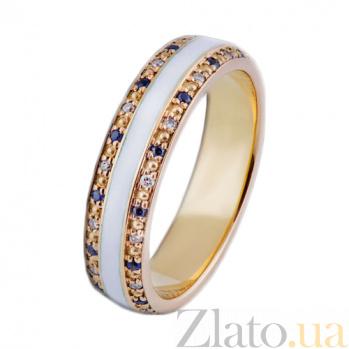 Золотое кольцо с бриллиантами, сапфирами и эмалью Млечный Путь PRT--WR0020