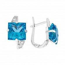 Серебряные серьги Наина с синтезированным голубым топазом и фианитами