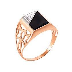 Золотой перстень-печатка в комбинированном цвете с цирконием и черным ониксом 000117650